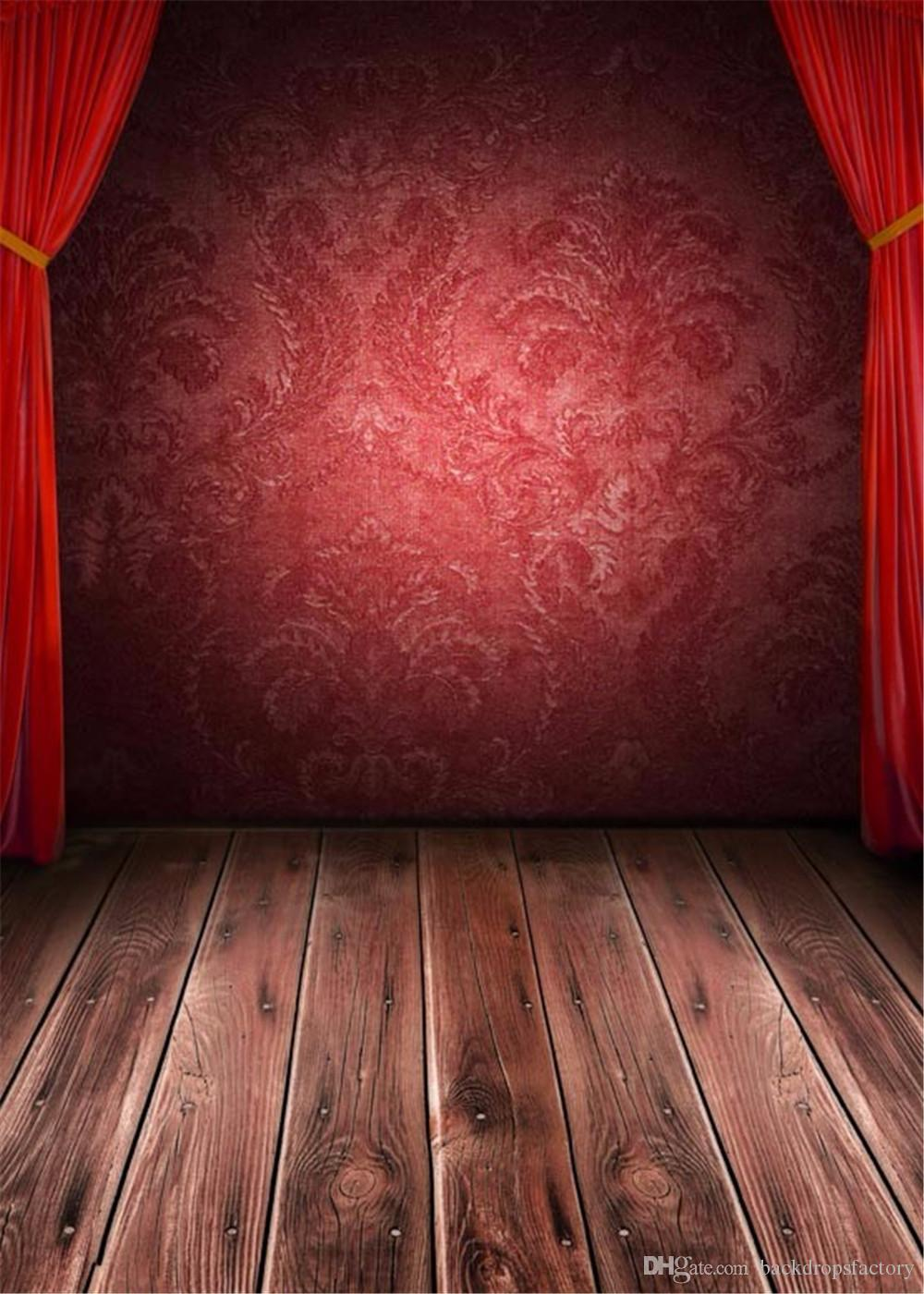 Bl blue stage curtains background - 2017 Red Curtains Stage Photography Backdrops Vintage Brown Wooden Planks Floor Burgundy Damask Wall Children Kids Studio Photo Booth Background From