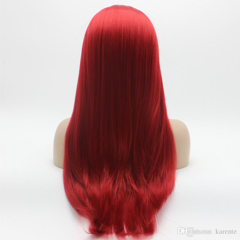 Iwona Hair Straight Long Red Wig 2#3100 Half Hand Tied Heat Resistant Synthetic Lace Front Wig