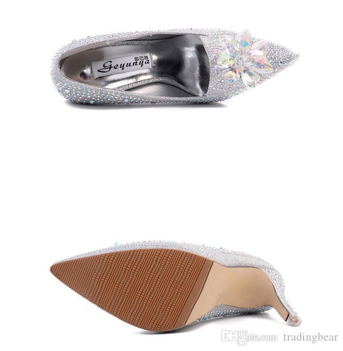 Chaussures de cristal strass chaussures de mariage strass argent robe de bal robe de robe taille 34 à 39