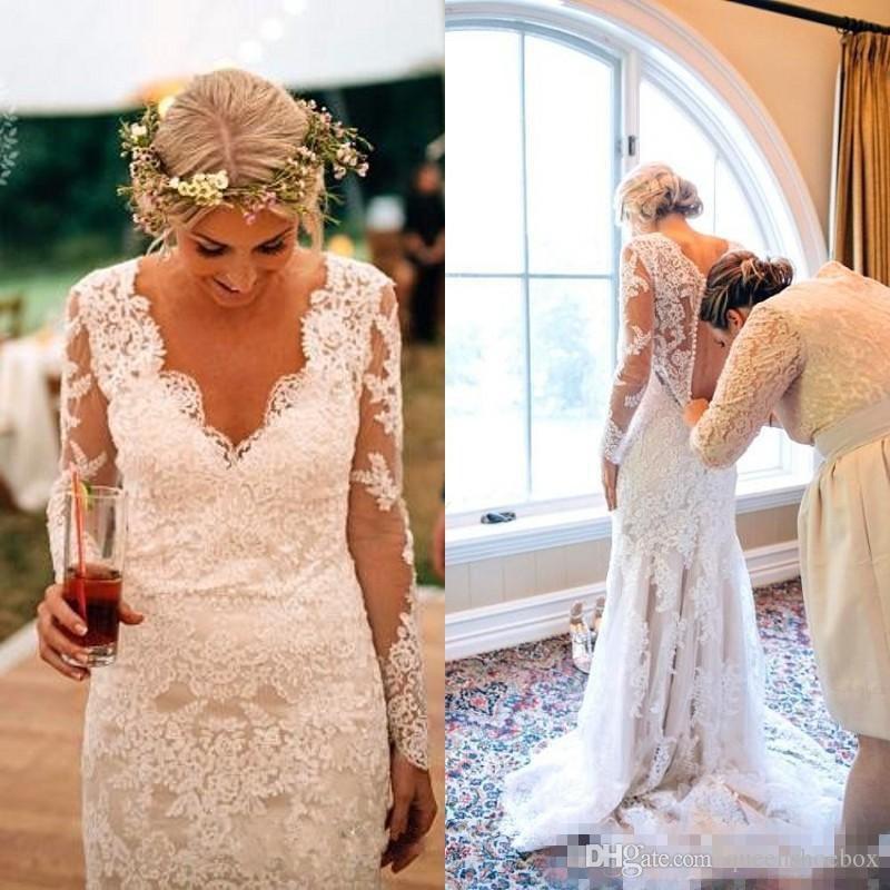 Land-Art-Nixe-Spitze mit langen Ärmeln Brautkleider 2020 Vintage-V-Ausschnitt Sweep Zug Arabisch Frauen Hochzeit Brautkleider Roben de mariée