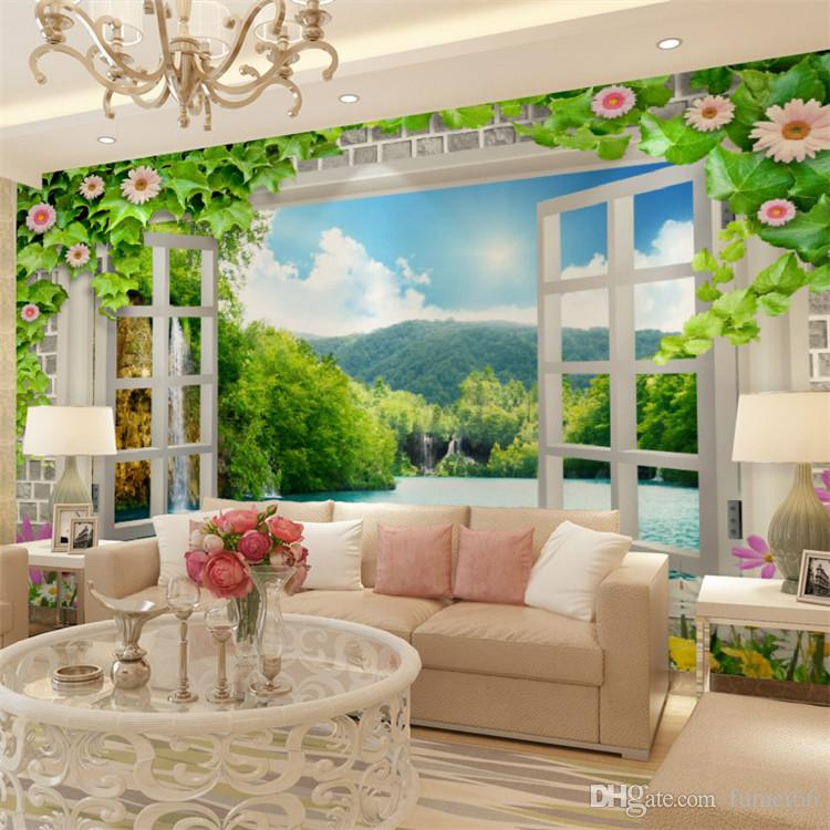 Large Mural Living Room Tv Background Wall 3d Window Landscape