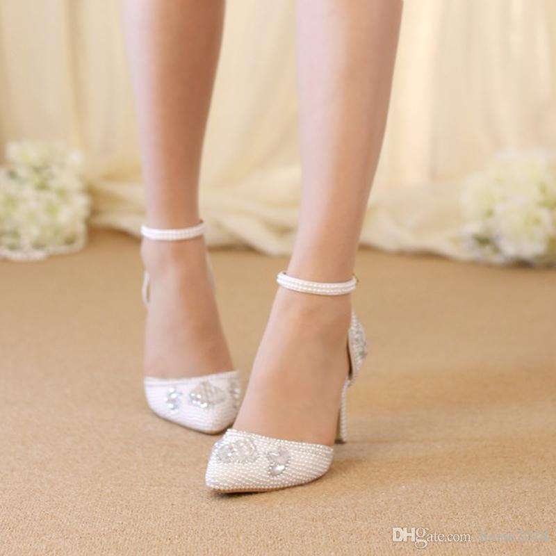 Rose rouge blanc perle chaussures de mariage bout pointu confortable moyen talon chaussures de bal à la main strass robe de mariée chaussures