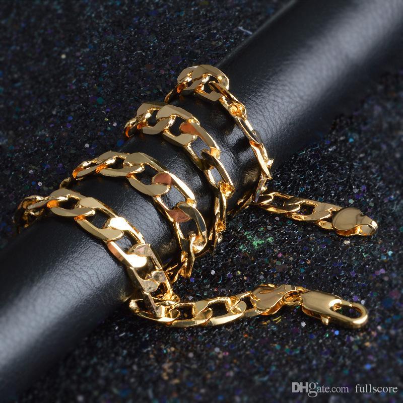 2017 nuovo 6mm dia giallo solido oro riempito catena cubana collana di spessore mens gioielli womens fresco papà fidanzato regalo di compleanno