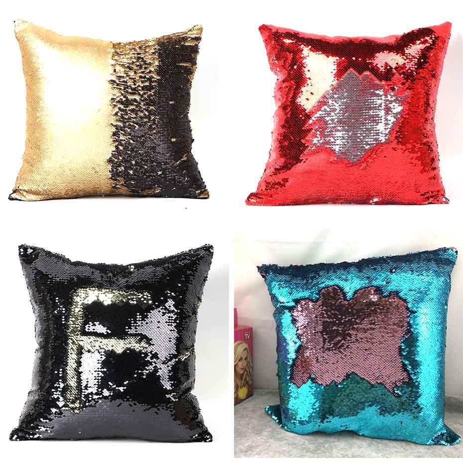 싱글 사이드 장식 조각 인어 쿠션 커버 베개 마법 색상 베개 케이스 홈 장식 베개를 던져 반짝이 변경
