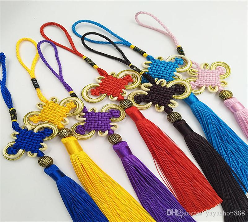 10Pcs/lot Red Chinese Knots Multi Color Nylon Cord Tassel DIY Lucky Knot Accessories Home Party Wedding Decorations for Car Living Roon H02