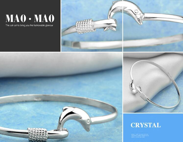 925 Silver Bangles Jewelry Fashion Dolphin Style 925 Silver Bracelet Bangle Jewelry Fit 8inch Wrist Jewelry