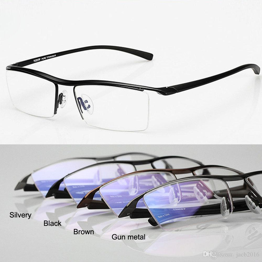 5ab7488bc0d2 2019 Glasses Eyewear Eyeglasses Men Women Pure Titanium Half Rim Frame  Spectacles Concise Design Light Durable Hyperelastic Temples From Jacb2016