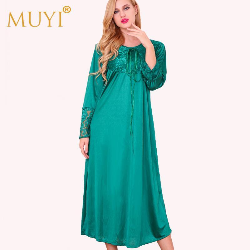 2018 Wholesale Nightwear Long Sleepwear Women Nightgowns Woman ...