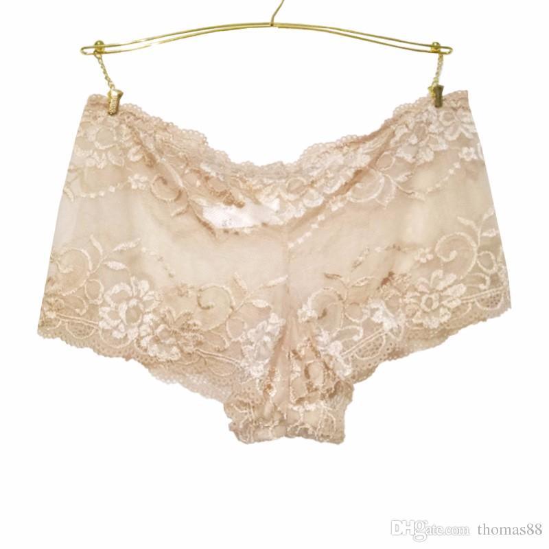 Wholesale- Underwear Women Cotton Panties Sexy Lace Lingerie Hollow Briefs Seamless Intimates Underpants Plus Size