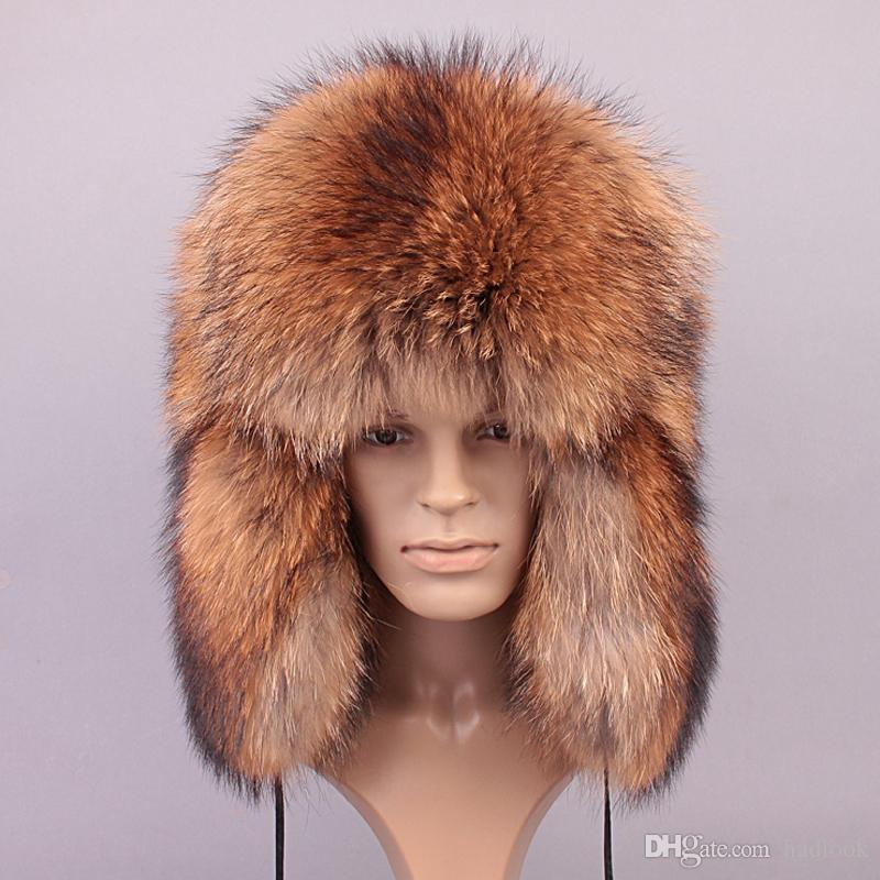 3beaab243f559 2019 Winter Men Genuine Leather Fur Hat Real Fox Fur Outdoor Ear Protection  Caps New High Quality Natural Raccoon Fur Hat From Hadlook