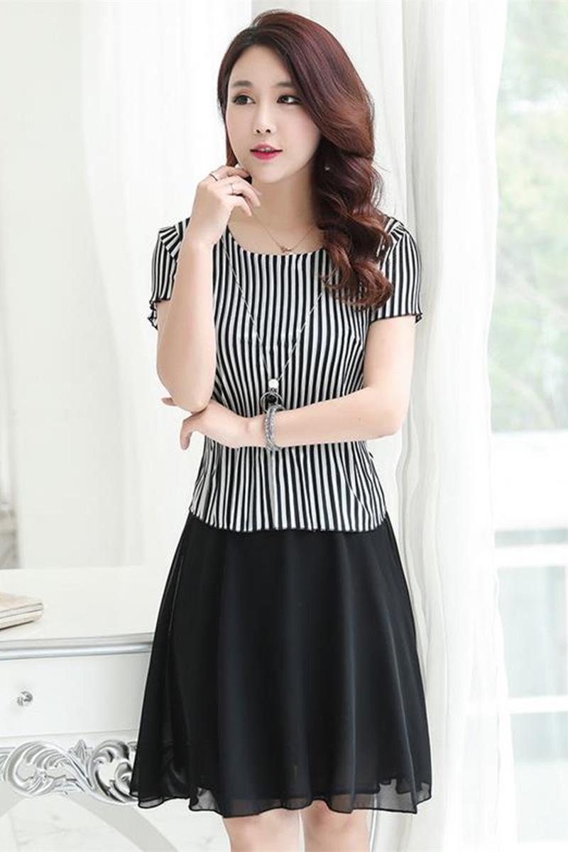 Fake Two Summer Dress Code Striped Dress Fashion Slim Middle Aged ...