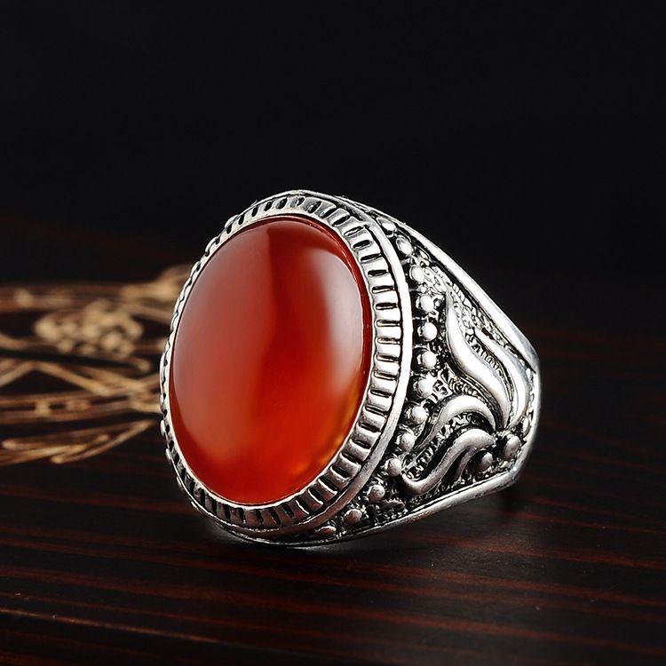 New Arrive Wholesale Hot Sell Vintage Elegant Single Opal Gem Antique Silver Ring for Fashion People