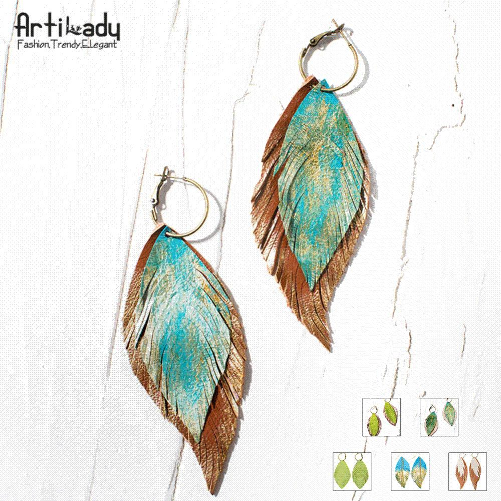 5d9f15725d3ef7 Artilady 6 Options Genuine Leather Earrings Boho Feather Drop ...
