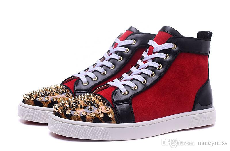 9ae9eaa05cc 2017 Luxury Designer Red Bottom Sneakers Red Suede with Gold Spikes ...
