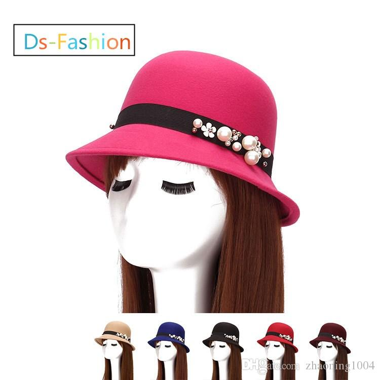 997a6c63a6fb0 2019 Ladies Church Hats With Pearl Elegant Kentucky Derby Races Hat Woman  Formal Wedding Fedoras Bucket Dress Cap Red Pink 6 Solid Color For Sale  From ...