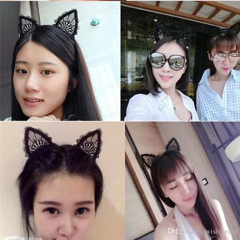Female Women Lady Girls Kids Cute Cat Kitty Costume Ear Party Lace Hairbands Headbands Headwear Hair Head Band Accessories