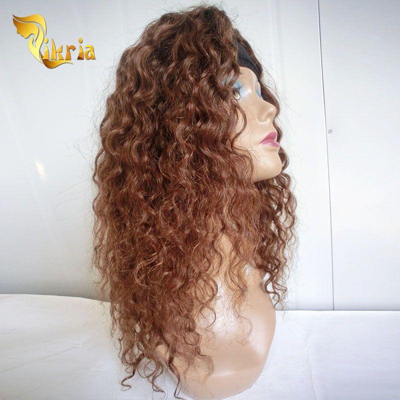 Base de seda Pelucas llenas del cordón Pelucas delanteras del cordón del pelo humano peruano brasileño indio indio Peluca marrón profunda de la onda sin cola Pelucas llenas del cordón