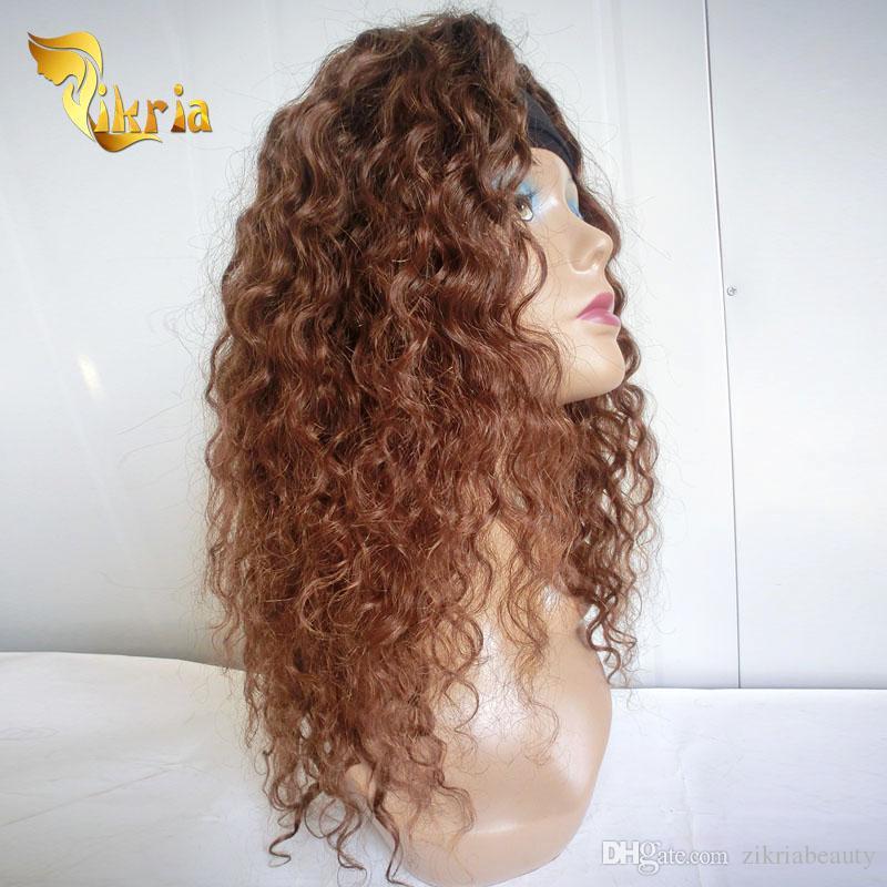 Base de soie pleine dentelle perruques brésilienne indienne malaisienne péruvienne cheveux avant de lacet perruques brun vague profonde sans colle pleine perruques