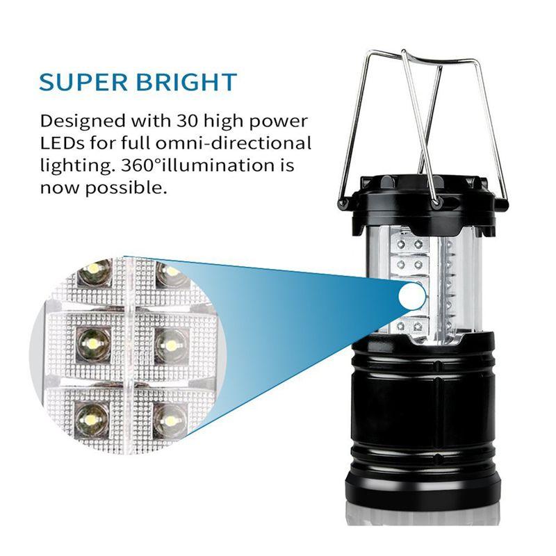 Lanternas ao ar livre Iluminação 30 LED Camping Lanterna Tenda Mais Leve Luz de Iluminação Ao Ar Livre Portátil Pendurado Lâmpada Caminhadas Pesca Lanterna Portátil