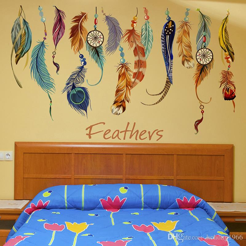 Home Decoration Wall Stickers Bedroom Sofa Background Mural Painting Removable Colored Feathers Walls Decorations PVC Creative New 3 6fj