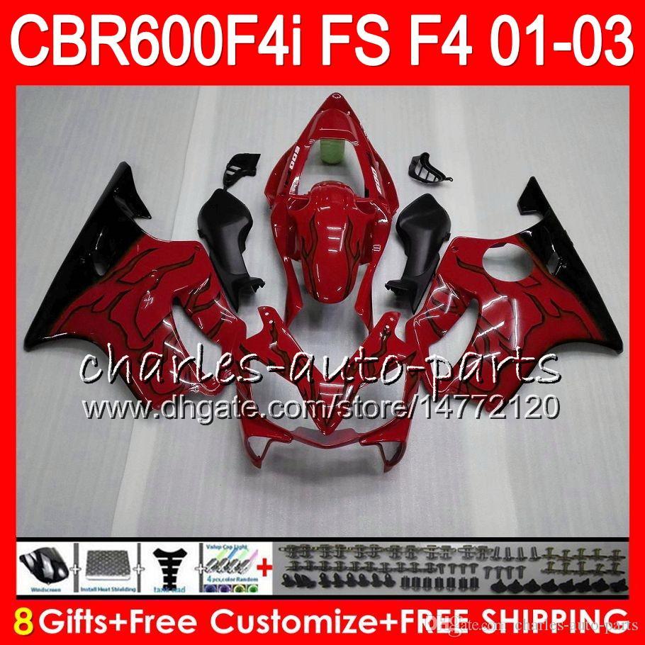 8Regalos es Para HONDA CBR 600 F4i 01-03 CBR600FS FS 28HM7 CBR600 F4i 2001 2002 2003 TOP rojo negro CBR 600F4i CBR600F4i 01 02 03 Carenado