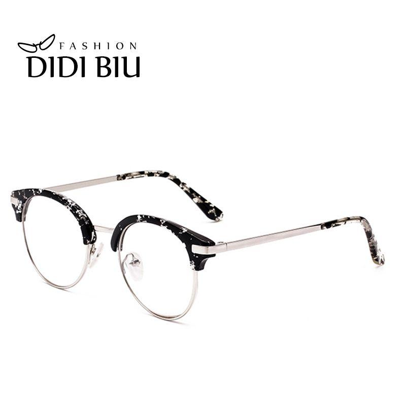 bada342eb9d DIDI Anti Blue Ray Half Frame Flower Glasses Women Brand Yellow Lens ...