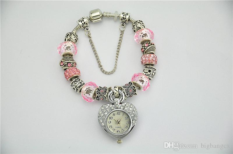 New Lady Party Bracelet Watches Classic Weave Women Stylish Crystal Rhinestones Heart Circle Pendant DIY Shambhala Chain Wristwatch