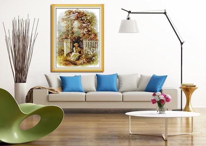 Garden girl flower villa, Gracious style Punto croce Set cucito Kit di ricamo dipinti contati stampati su tela DMC 14CT / 11CT
