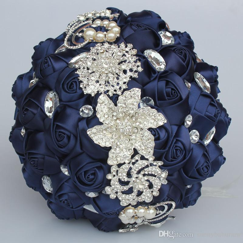 Navy Wedding Bouquets Artificial Sweet 15 Quinceanera Bouquet Crystal Silk Ribbon New Buque De Noiva W228-L