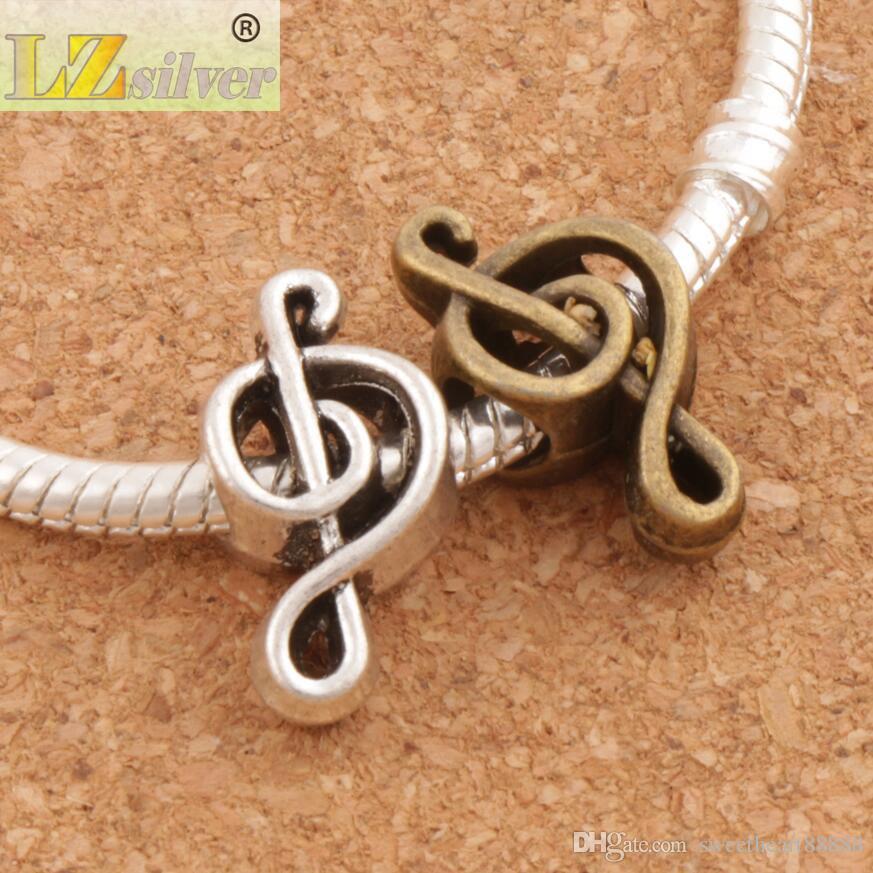 Musik Note Metall Großes Loch Perlen 100 / 18,4x9,5x7,3mm Antik Silber / Bronze Fit Europäischen Charme Armbänder Schmuck DIY L1449