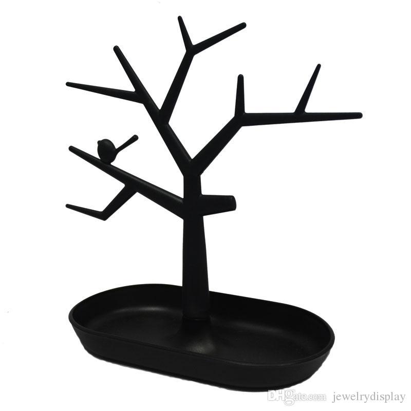 Black Jewelry Collier Anneau Boucles D'Oreilles Bird Tree Stand Organisateur Holder