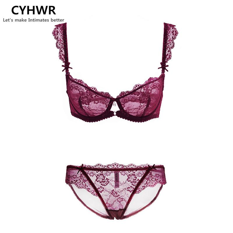 CHYWR Women sexy transparent lace big size thin section bra set underwear A B C D Cup