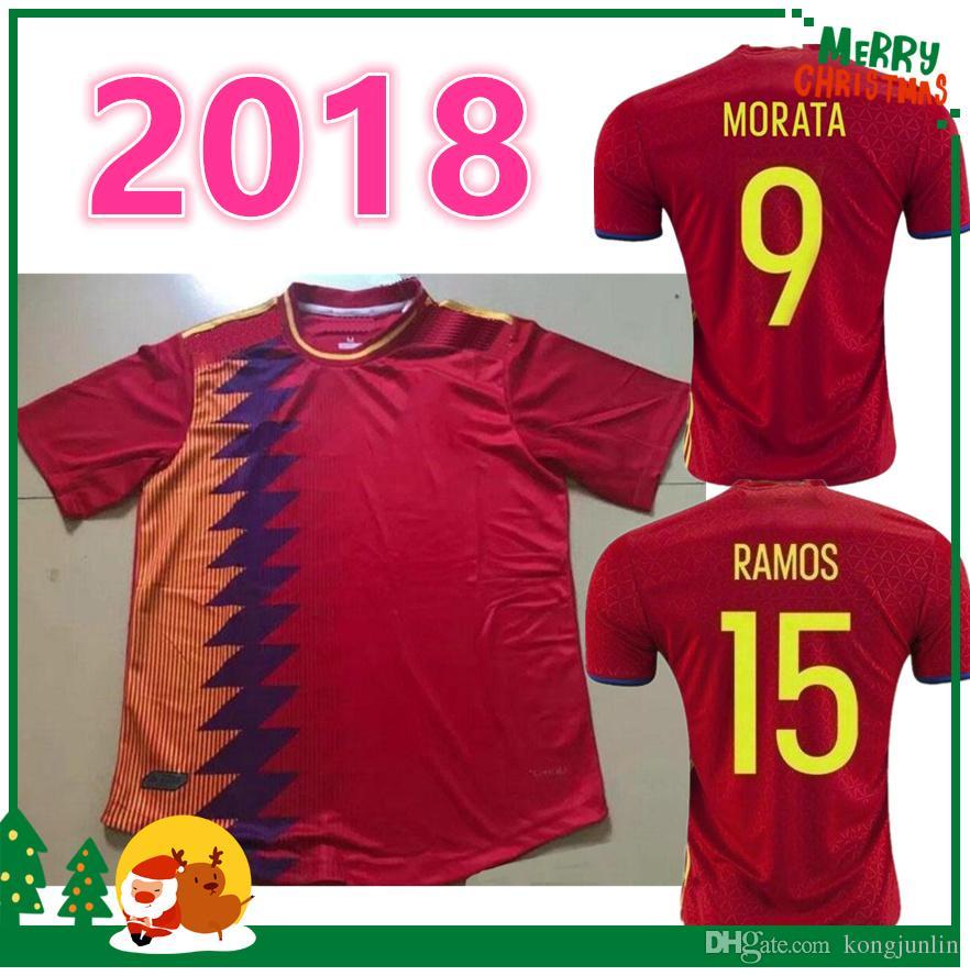 1c3fc0ebb ... 2016 2018 Spain jersey INIESTA RAMOS home red away white FABREGAS COSTA  SILVA ISCO VAXI top ...