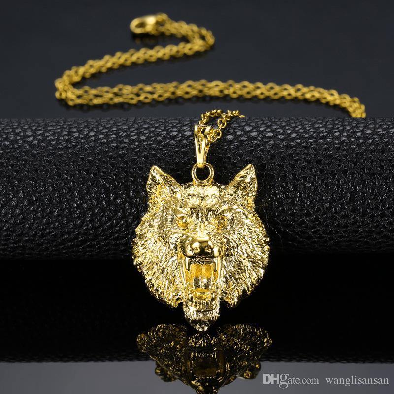 Wholesale solid wolf head pendant 18k yellow gold filled iced out wholesale solid wolf head pendant 18k yellow gold filled iced out necklace for men women creative animal design jewelry opal pendant necklace locket aloadofball Images