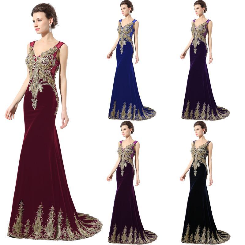 9baa9c3b9ed LX027 Navy Black Velvet Long Prom Dresses Applique Beaded Mermaid Sheer  Back V Neck 2017 Arabic Party Women Formal Evening Gowns Custom Made Lace  Formal ...
