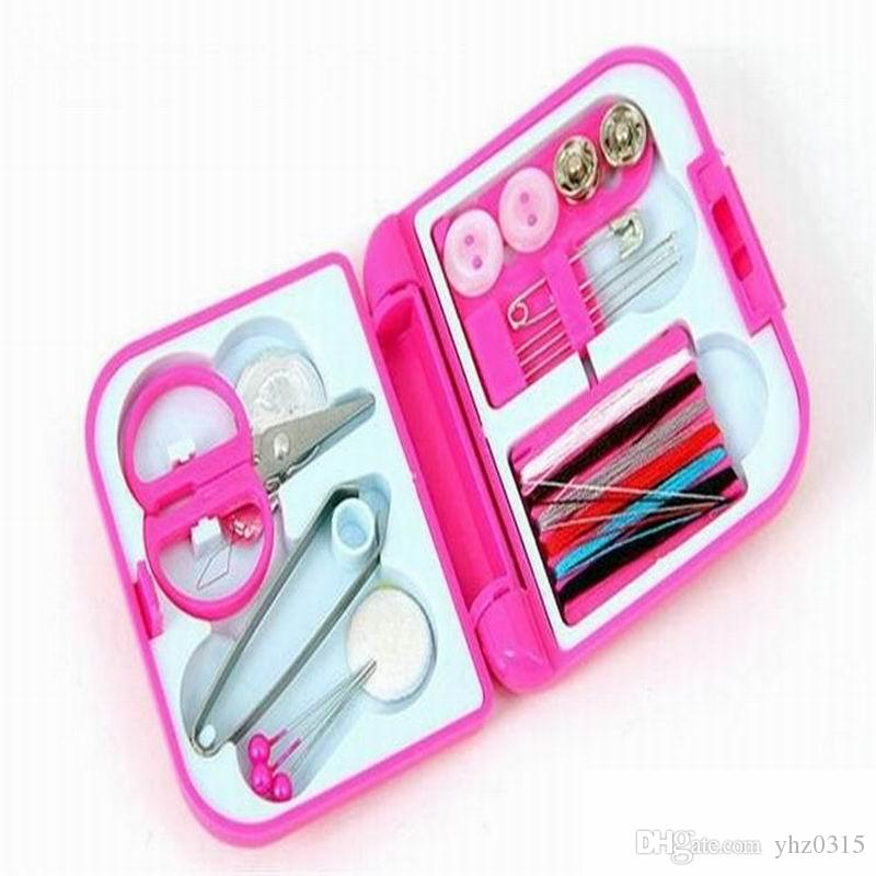 Wholesale Portable Travel Sewing Kits Box Needle Threads Scissor Thimble Home Tools Sewing Boxes & Storage