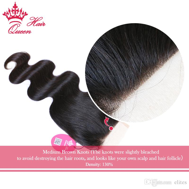 Queen Hair Products 100% Virgin Human Hair Brazilian Lace Closure Body Wave 8-20Inch # 1B Naturlig färg 8A Grade DHL Snabb leverans