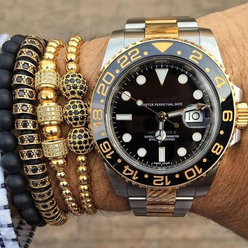 Anil Arjandas Men's Bracelets Stainless Steel Ball Rhinestones Rope Hand Weaving Knot Adjustable Wristbands Bangle