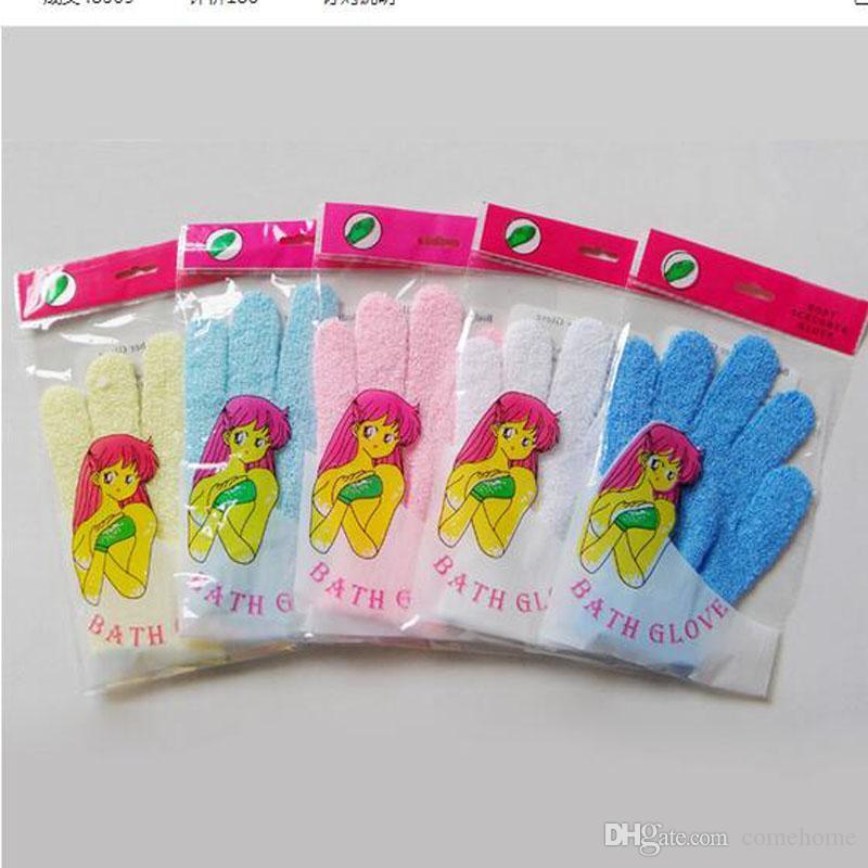 Fabrikpreis Exfoliating Bad-Handschuh fünf Finger Bad-Handschuhe bequeme und bequeme Gesundheit geben Verschiffen frei