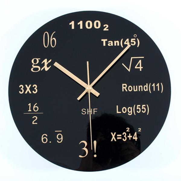 Math Clock Unique Wall Clock Each Hour Marked By A Simple Math Equation  Black Modern Round Home Office Novelty Gifts Bathroom Wall Clocks Bathroom  Wall ... Part 69