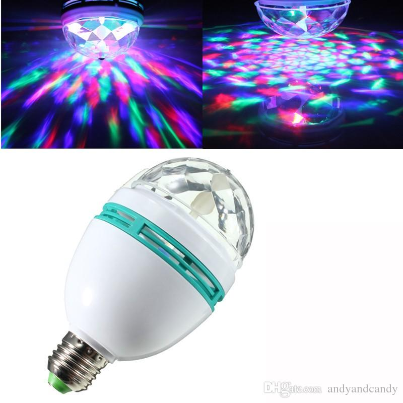 Magic Ball Bulb E27 Colorato Lampada Stage Light Auto Rotante Natale RGB LED Night Light per la casa DJ Party Dance Decoration 3W
