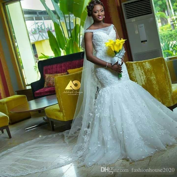Sexy 2017 African Plus Size Mermaid Wedding Dresses Off Shoulder Lace Appliques Floral Cap Sleeves Sweep Train Bridal Gowns Custom Made