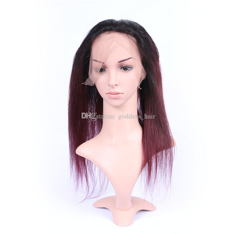 Ombre Bourgogne Droite Bundles De Cheveux Avec 360 Bande De Dentelle Frontale Extension De Cheveux Vierge Adjustale # 1B / 99j Avec 360