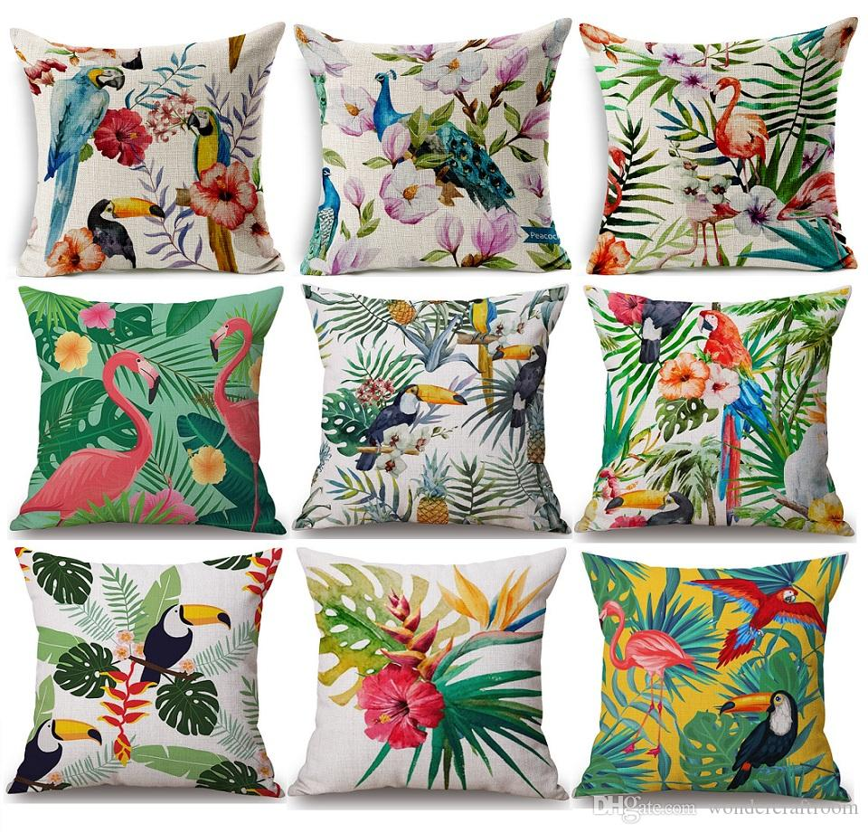 Tropical Plants Flower Pineapple Cushion Cover Bird Parrot Flamingo