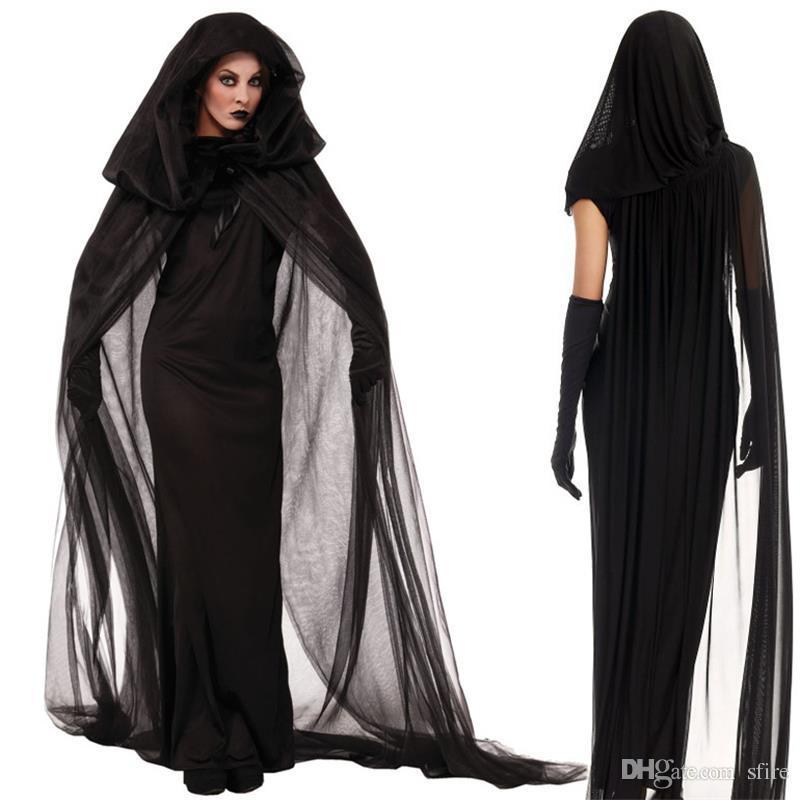 Costume strega donna lungo abito costume 2017 vestiti di Halloween donne adulto partito Halloween nero strega costume cosplay