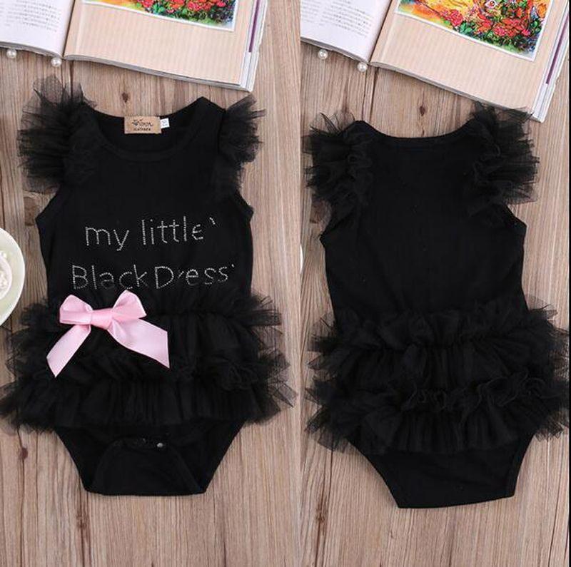 Hot Baby Girls tute my Little Black Dress lettera stampato pagliaccetti pizzo senza maniche in cotone o-collo abiti con bownot set spedizione gratuita