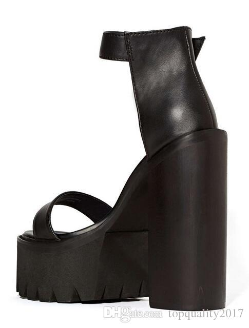 Fashion Jeffrey Campbell Fabrizio Sandals Black Ankle Strap Platform High Heels Leather Sandals Women Sandals Shoes