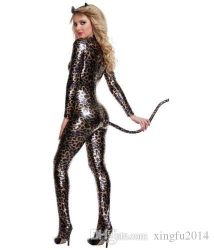 Wonder Beauty Sexy Leather Catwoman Zentai Costume Halloween PVC Latex Catsuit Nightclub Bodysuit Women Faux Vinyl Jumpsuit