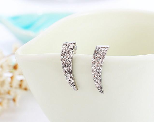 Jewelry Ear Studs Knife Shape Rhinestone Silver Gold Plated Ear Studs For Womens Girls Party Jewelry