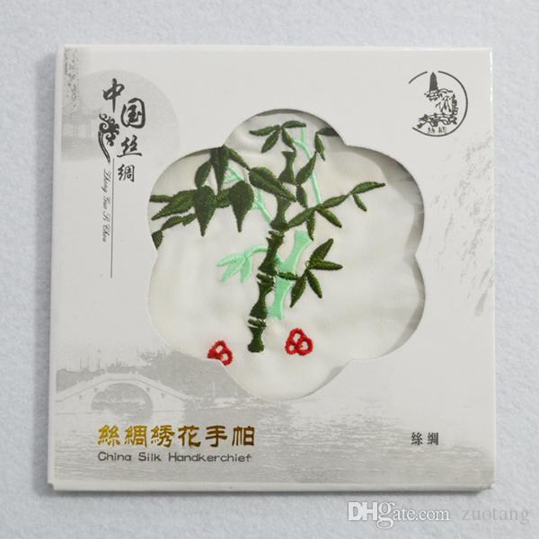 Pañuelo de seda blanco único bordado mujeres adultas pequeña toalla cuadrada artesanías étnicas chinas regalo 10 unids / lote envío gratis